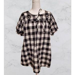 Xoxo Buffalo Plaid pattern tunic size sm